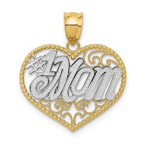 14k Yellow Gold and White Rhodium Filigree #1 Mom Heart Pendant, 20mm - The Black Bow Jewelry Co.