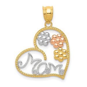 14k Tri Color Gold MOM and Flowers Pendant, 20mm - The Black Bow Jewelry Co.