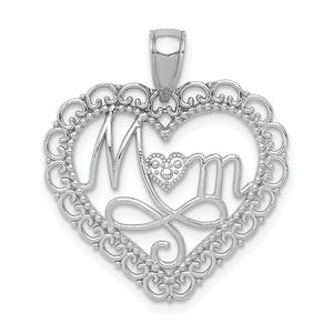 14k White Gold Mom Scallop Heart Pendant, 23mm - The Black Bow Jewelry Co.