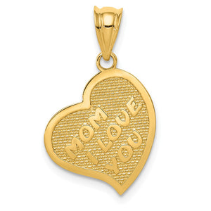 14k Yellow Gold Mom I Love You/Cross Reversible Heart Pendant, 14mm - The Black Bow Jewelry Co.