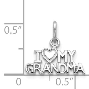Alternate view of the 14k White Gold I Love My Grandma Charm or Pendant, 15mm by The Black Bow Jewelry Co.