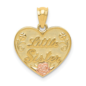 14k Two Tone Gold Little Sister Heart Pendant, 15mm - The Black Bow Jewelry Co.