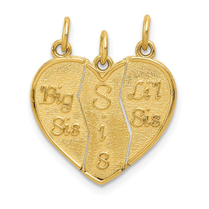 14k Yellow Gold Big Sis, Sis, Lil Sis Three Piece Charm Pendants, 18mm - The Black Bow Jewelry Co.