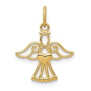 14k Yellow Gold Polished Small Angel with Heart Pendant, 15mm - The Black Bow Jewelry Co.