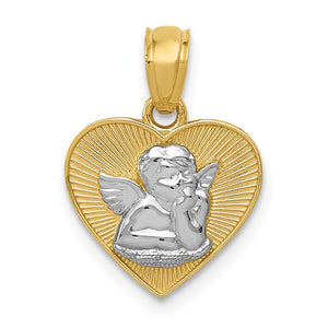 14k Yellow Gold & White Rhodium Guardian Angel Heart Pendant, 13mm - The Black Bow Jewelry Co.
