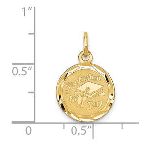 Alternate view of the 14k Yellow Gold Graduation Cap Brocaded Disc Charm or Pendant, 14mm by The Black Bow Jewelry Co.