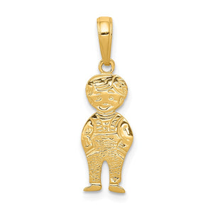 14k Yellow Gold Boy with Hands In Pocket Pendant, 8mm - The Black Bow Jewelry Co.