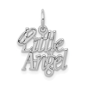 14k White Gold Little Angel Charm or Pendant, 15mm (9/16 inch) - The Black Bow Jewelry Co.