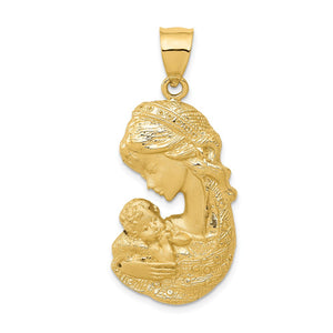 14k Yellow Gold Large Mother Holding Child Pendant, 17 x 36mm - The Black Bow Jewelry Co.
