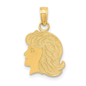 14k Yellow Gold Flat Profile Girl Head Pendant, 12mm (7/16 inch) - The Black Bow Jewelry Co.