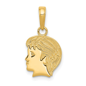 14k Yellow Gold Flat Profile Boy Head Pendant, 11mm (7/16 inch) - The Black Bow Jewelry Co.