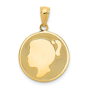 14k Yellow Gold Girl Silhouette Cameo Disc Pendant, 15mm (9/16 inch) - The Black Bow Jewelry Co.