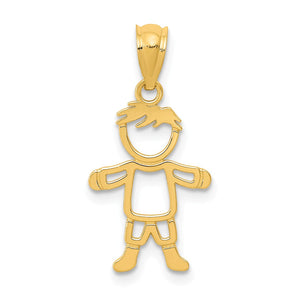 14k Yellow Gold Boy Pendant, 10mm (3/8 inch) - The Black Bow Jewelry Co.