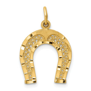 14k Yellow Gold Horseshoe Charm or Pendant, 15mm (9/16 inch) - The Black Bow Jewelry Co.