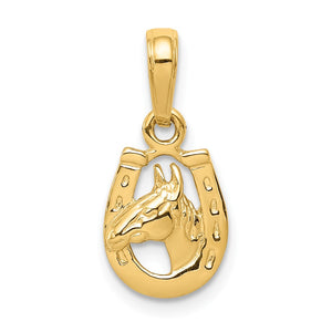 Kids 14k Yellow Gold Small Horse Head and Horseshoe Pendant, 9mm - The Black Bow Jewelry Co.