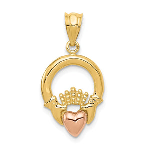 14k Yellow Gold and Rose Gold 2D Claddagh Pendant, 13mm (1/2 inch) - The Black Bow Jewelry Co.