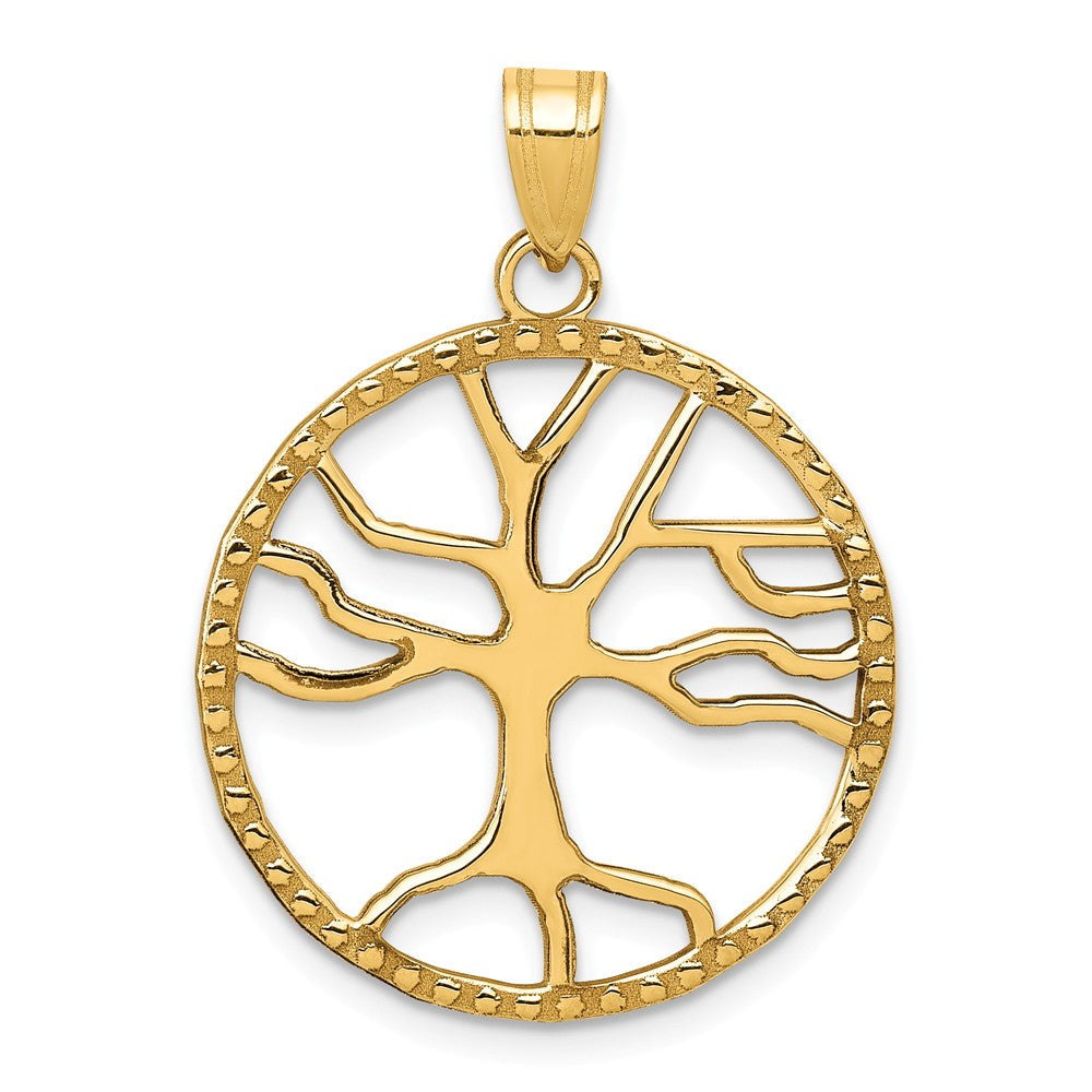 14k Yellow Gold Round Framed Tree of Life Pendant, 20mm (3/4 inch), Item P26571 by The Black Bow Jewelry Co.
