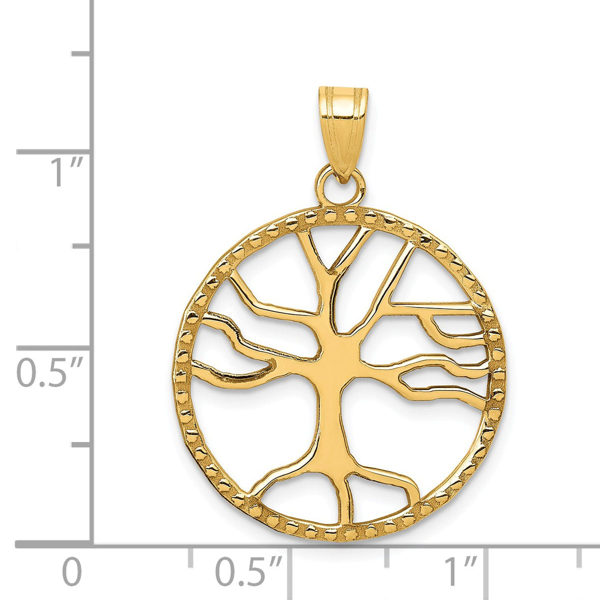 Alternate view of the 14k Yellow Gold Round Framed Tree of Life Pendant, 20mm (3/4 inch) by The Black Bow Jewelry Co.