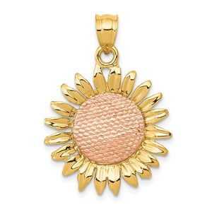 14k Yellow and Rose Gold Sunflower Pendant, 21mm (13/16 inch) - The Black Bow Jewelry Co.