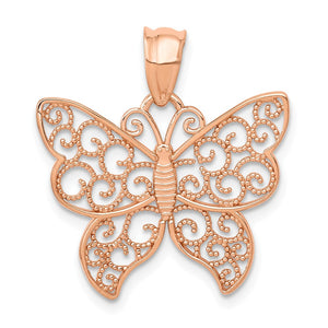 14k Rose Gold Filigree Butterfly Pendant, 21mm (13/16 inch) - The Black Bow Jewelry Co.