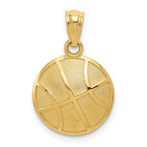 14k Yellow Gold 2D Textured Basketball Pendant, 13mm (1/2 inch) - The Black Bow Jewelry Co.