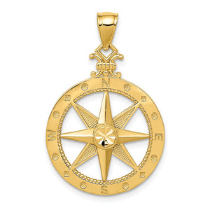 14k Yellow Gold Compass Pendant, 14mm, 20mm or 22mm - The Black Bow Jewelry Co.