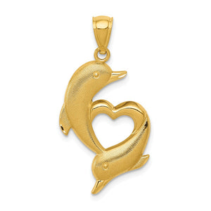 14k Yellow Gold Textured Dolphins and Heart Pendant, 17 x 33mm - The Black Bow Jewelry Co.