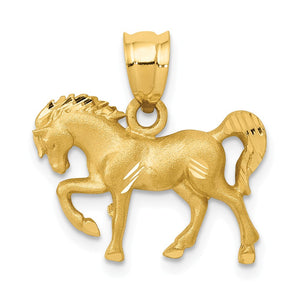 14k Yellow Gold Satin & Diamond-Cut Horse Pendant, 18mm (11/16 Inch) - The Black Bow Jewelry Co.