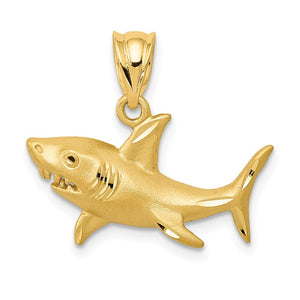 14k Yellow Gold Satin & Diamond-Cut 2D Shark Pendant, 20mm (3/4 Inch) - The Black Bow Jewelry Co.