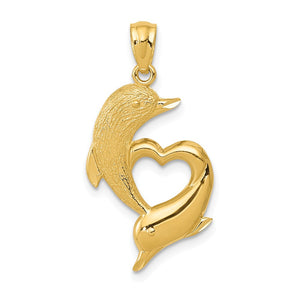 14k Yellow Gold Textured & Polished Dolphins & Heart Pendant, 14x25mm - The Black Bow Jewelry Co.