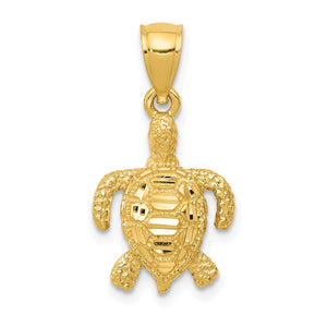 14k Yellow Gold Small 2D Diamond-Cut Sea Turtle Pendant, 13 x 23mm - The Black Bow Jewelry Co.