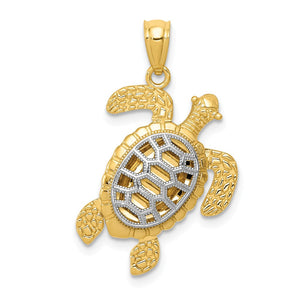 14k Yellow Gold & White Rhodium Moveable Legs Sea Turtle Pendant, 17mm - The Black Bow Jewelry Co.