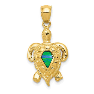14k Yellow Gold & Synthetic Blue Opal Turtle Pendant, 15mm (9/16 Inch) - The Black Bow Jewelry Co.