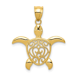 14k Yellow Gold Filigree Sea Turtle Pendant, 22mm (7/8 Inch) - The Black Bow Jewelry Co.