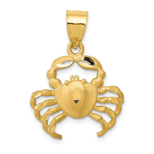14k Yellow Gold Satin & Diamond-Cut Crab Pendant, 19mm (3/4 Inch) - The Black Bow Jewelry Co.