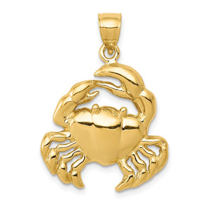 14k Yellow Gold Polished 2D Crab Pendant, 20 x 28mm (3/4 x 1 1/8 Inch) - The Black Bow Jewelry Co.