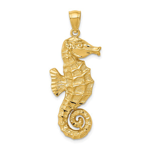 14k Yellow Gold Large 2D Seahorse Pendant, 15 x 38mm - The Black Bow Jewelry Co.