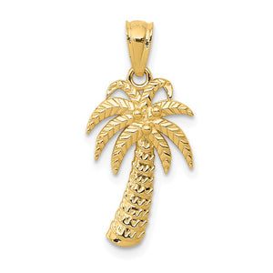 14k Yellow Gold Polished Textured Palm Tree Pendant, 11 x 23mm - The Black Bow Jewelry Co.