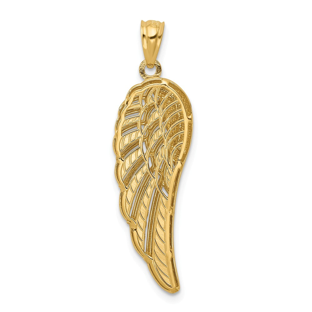 Alternate view of the 14k Yellow Gold & Rhodium 2D Diamond-Cut Angel Wing Pendant, 10 x 33mm by The Black Bow Jewelry Co.