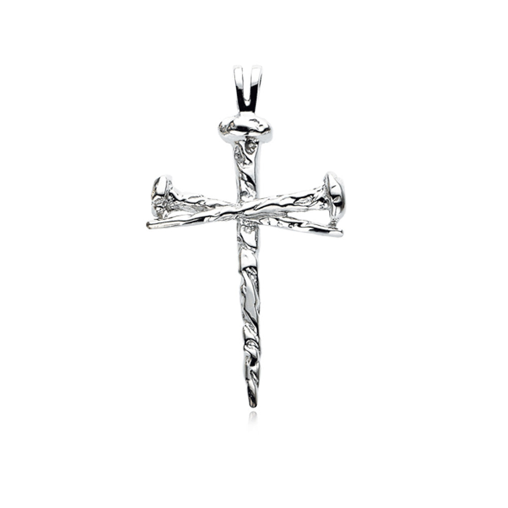 Sterling Silver Nail Cross Necklace, 18 Inch, Item P8283 by The Black Bow Jewelry Co.