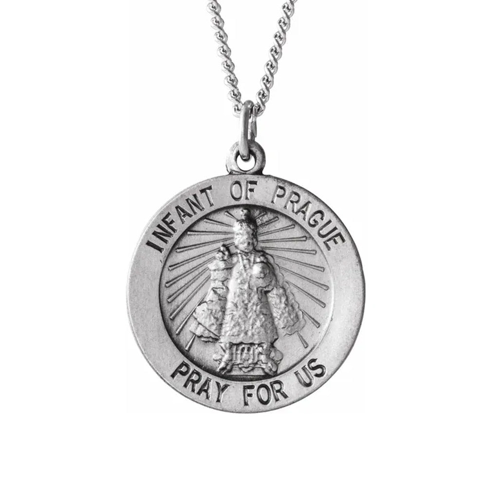 Sterling Silver 18mm infant of Prague Medal Necklace, 18 Inch, Item P8292 by The Black Bow Jewelry Co.