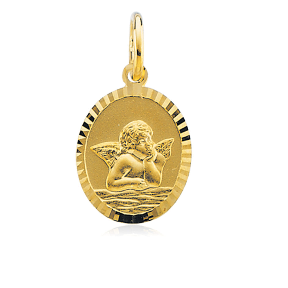 14k Yellow Gold Oval Angel Pendant, 12 x 14mm, Item P8299 by The Black Bow Jewelry Co.