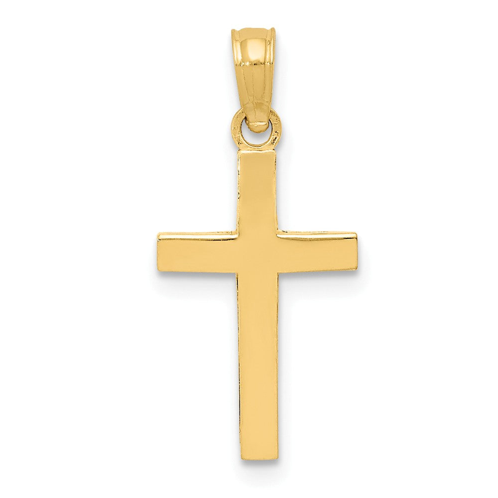 14k Yellow Gold, Beveled Latin Cross Pendant, Item P8319 by The Black Bow Jewelry Co.