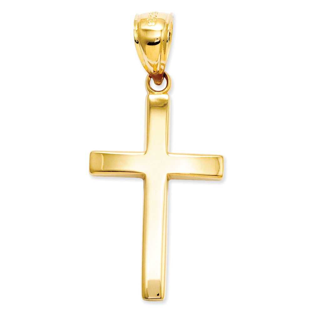 14k Yellow Gold, Polished, Latin Cross Pendant, Item P8322 by The Black Bow Jewelry Co.