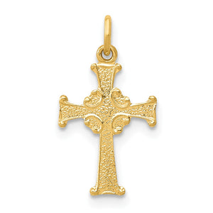 14k Yellow Gold, Dainty, Celtic Cross Charm - The Black Bow Jewelry Co.