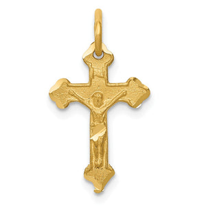 14k Yellow Gold, INRI Budded Crucifix Charm - The Black Bow Jewelry Co.