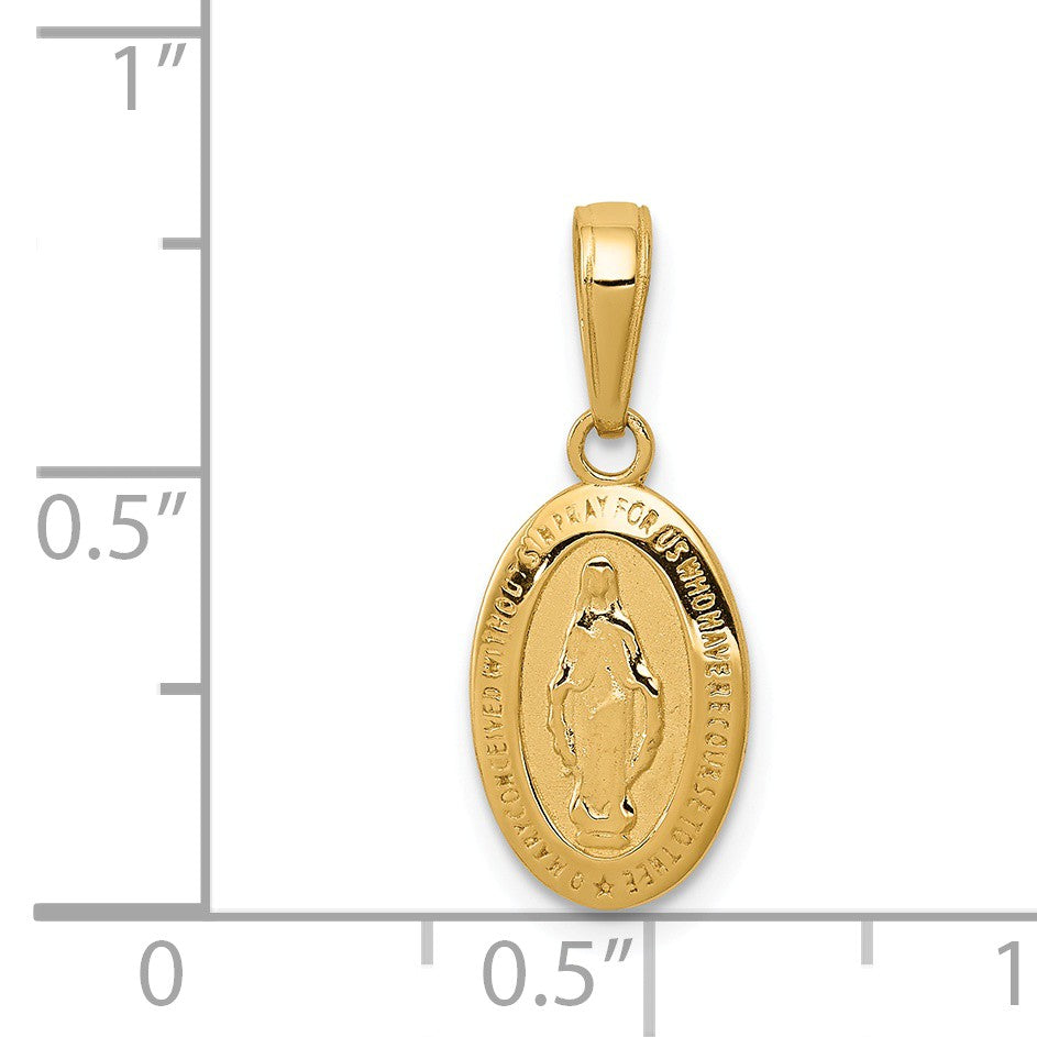 Alternate view of the 14k Yellow Gold, Small Solid Oval Miraculous Medal Pendant, 8 x 20mm by The Black Bow Jewelry Co.