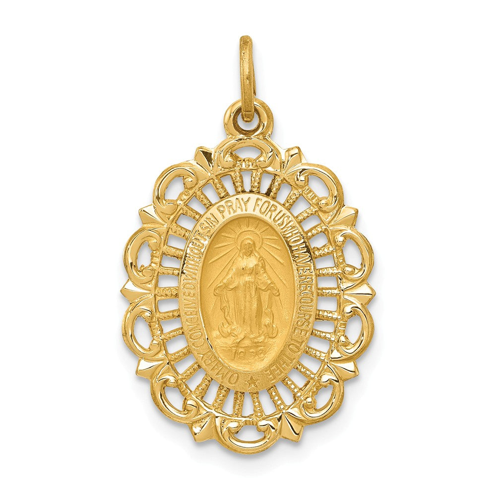 14k Yellow Gold, Oval Filigree Miraculous Medal Charm, 15 x 25mm, Item P8348 by The Black Bow Jewelry Co.