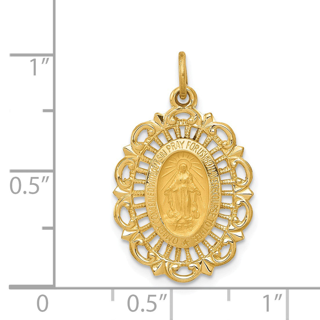 Alternate view of the 14k Yellow Gold, Oval Filigree Miraculous Medal Charm, 15 x 25mm by The Black Bow Jewelry Co.