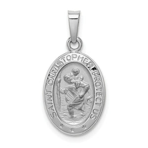14k White Gold Saint Christopher Oval Medal Pendant - The Black Bow Jewelry Co.